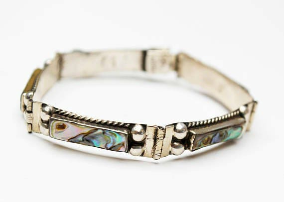 Small Sterling Abalone Bracelet - Shell inlay - Small Silver link braelet 6 1/2 inches long
