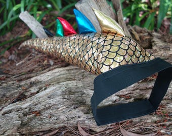 Gold Dragon Tail Costume. Optional Wings Crown or Mask Set! Dinosaur costume.