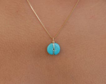 Gold Wire Wrapped Turquoise Drop Necklace