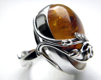 SALE 25% OFF!!! Use the coupon code: SALE25 Baltic amber sterling silver ring  - adjustable