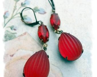 Assemblage Earrings, Vintage Ruby Rhinestone Earrings, Rare Red Satin Balloon Rhinestone Earrings, Boho Chic, Estate Style, Bertha Louise