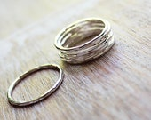 Sterling Silver Stack Ring Set, Hammered Stack Rings, Knuckle Rings, Midi Rings