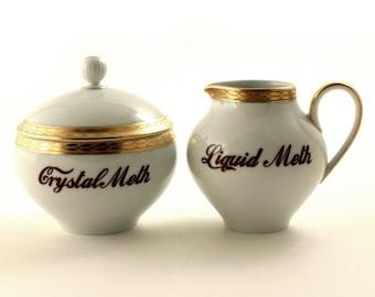 Crystal Meth, Liquid Meth, Drug Art, Altered Art, Vintage Porcelain Creamer Lidded Sugar Pot Set, Addiction, Gold Rim China, Fun Gift Ideas