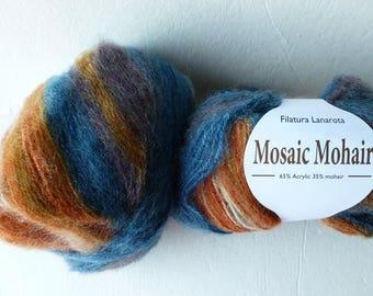 Yarn Sale  - Teal and Brown 31302 Mosaic Mohair by Filatura Lanarota