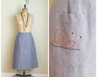 Summer Clearout 1970's Denim Chambray A line Skirt// Bejeweled// Snail// Pocket// Size Medium