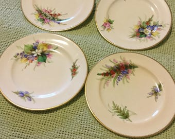 "Set of Four 8"" Dessert Plates-Floral Design Heavy Gold Trim-51T Unknown Mark"