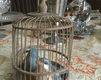 "Old Wood Bird Cage-8"" Tall with Handle by 4"" Round-No Bird Included"