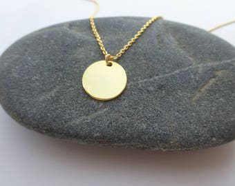 Dainty Gold Necklace Gold Disc Necklace Long Gold Necklace Minimalist Necklace Delicate Jewelry Long Disc Necklace Bridesmaids Necklace