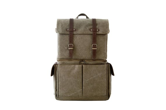 JOURNEYMAN Camera Laptop Backpack / Green Canvas