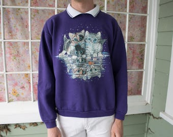 Vintage 90s Purple Cat Hipster Sweater