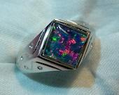 Mens Opal Ring Sterling Silver, Natural Opal Triplet. 8mm Square . item 060960.