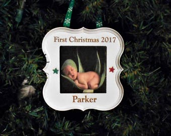 Baby's Christmas Ornament  Christmas Tree Ornament Gift  Mom Christmas Gift  Dad  Personalized  Ch Ornament Gift Family Photo Frame Ornament