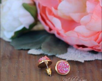 Pink Druzy Earrings, Druzy Earrings, Stud Druzy Earrings, Druzy Jewelry, Gemstone Earrings, Gold Earrings, Pink Earrings, Stud Earrings