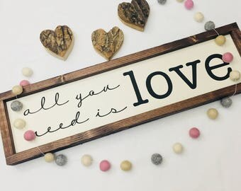 all you need is love painted solid wood sign