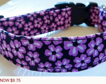 "Sale - 50% Off - Purple Floral Dog Collar - ""Geneva"" - Free Colored Buckles"