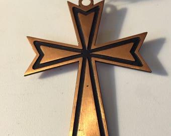 Huge Modernist Copper Cross Necklace Pendant Vintage Brutalist Copper Cross Pendant Nice Vintage Mod Modernist Necklace