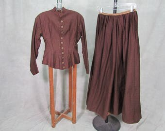 1800s Skirt and Jacket Wearable Size Sturdy Boned Hand Sewn