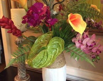 GORGEOUS TALL TROPICAL Arrangement, Centerpiece. Real Touch Orchids, Callas, Anthurium, Ginger, Tropical Foliage