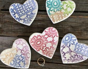 Heart Ring Dish, Ceramic Heart Shape ring bowl, trinket dish, Heart Tea Bag Holder,Handmade Ceramic pill dish, mother's day gift for Mom