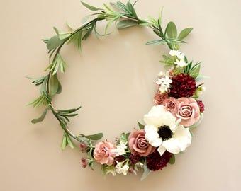 Modern Wreath, Wedding Decor, Nursery Decor Girl, Simple Wreath, Mothers Day Gift, Hoop Wreath, Modern Wall Decor
