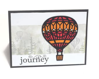 Hot air balloon blank card, bon voyage greeting card, Journey, trip, flying, open skies