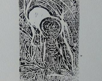 Linocut Owl Print, signed and dated original hares artwork