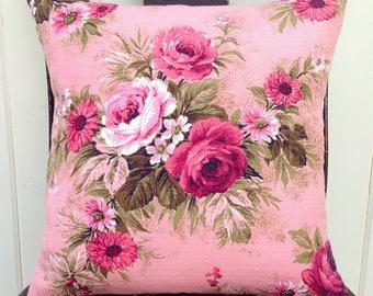 "vintage pink roses barkcloth pillow cover 14"""