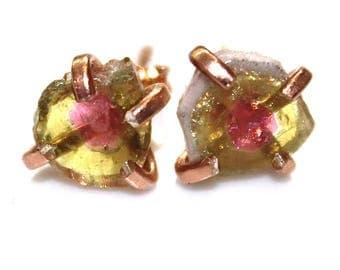 Medium Watermelon Tourmaline Stud Earring Organic Tourmaline Rainbow Tourmaline Rose Gold Tourmaline Jewelry Raw Tourmaline Prong Earring