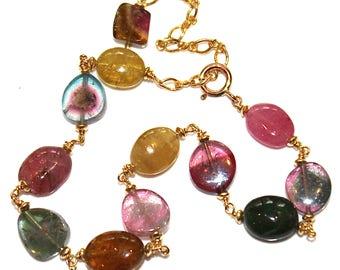 Watermelon Tourmaline Slice Bracelet Tourmaline Jewelry Tourmaline Bracelet Rainbow Tourmaline Station Bracelet Gemstone Jewelry