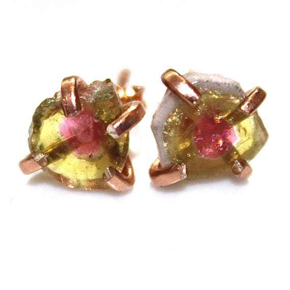 Medium Watermelon Tourmaline Stud Earrings