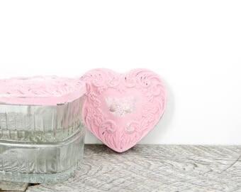 Vintage Wedding Ring Box - Pair - Little Pink Heart - Bridesmaid Gift - Pink Wedding