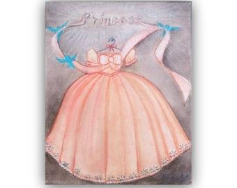 Princess Art Cinderella, Girls Princess Prints, Nursery Decor, Princess peach nursery, Baby Girl Nursery, Princess wall art, Nursery prints