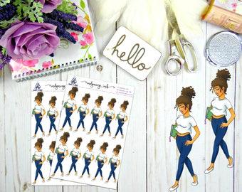 Sassy Mikhelia Planner Doll Sticker Sheet   Hand Drawn