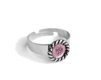Light Pink Adjustable Ring, Stainless Steel Jewelry for Women, Resin Jewelry, Simple Modern Ring, Gift for Daughter