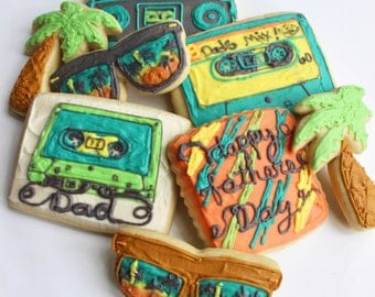 Retro Dad / 1980's / Ghetto blaster / Cassette Tape / Father's Day Sugar Cookies with Buttercream Frosting