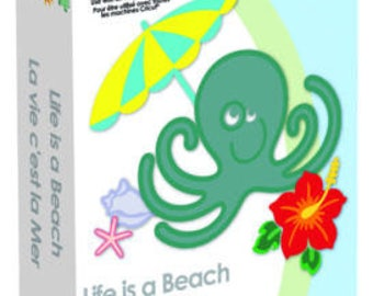 LIFE Is a BEACH  - CRICUT Cartridge -SUMMERTiME FuN !! - ** New and Sealed - Retired Full Content with KeyPad & Book