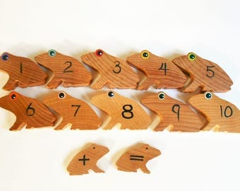 Kids math set of wood frogs for learning numbers addition subtraction and math concepts