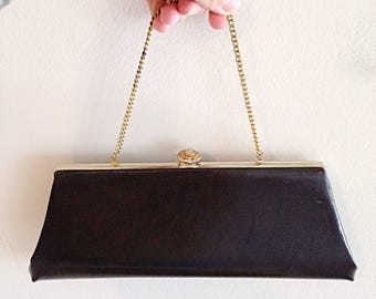 Vintage Chocolate Brown Faux Leather Mid Century Clutch
