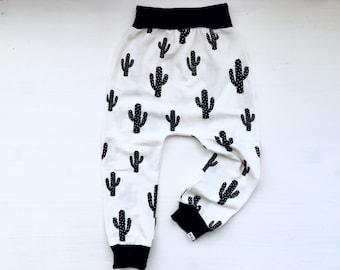 Baby Harem Pants   Grow With Me Pants   Baby Harems   Baby Joggers   Hipster Baby Pants   Toddler Harem Pants   Monochrome Cactus Pants