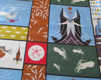 Quilting Weight Organic Cotton Fabric by Birch Fabric's Charley Harper Maritime Panel 1 yard