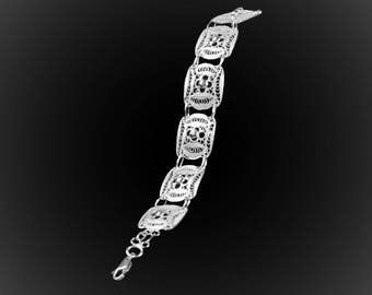 Sweet embroidered silver bracelet