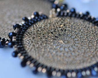 Black and gold Delica miyukis, Faceted blue crystals, Lasercut gold center, very light, beautiful beaded, handmade earrings