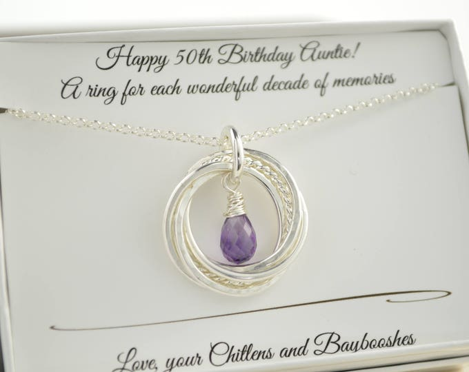 50th Birthday gift for mom, 5 Interlocking rings necklace, Amethyst birthstone necklace, February gemstone jewelry, 5 Best friends gift