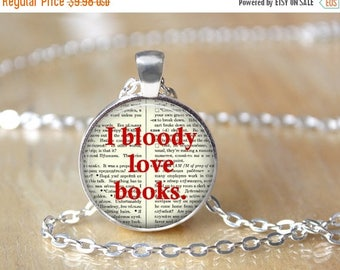 SUMMER SALE Book Necklace - Librarian Pendant - Library Necklace - Gifts for Readers - Bibliophile Necklace - Reading Pendant - Literacy Jew