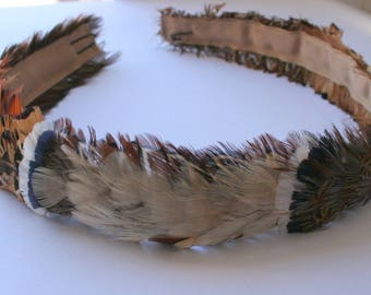 Vintage Feather Authentic Peasant Hat Band - Made in the USA - Accessory Hat - Adjustable Feather Band