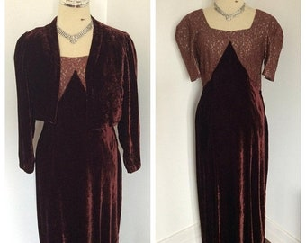 SALE 1930s raison red burgundy silk velvet floor length gown and jacket. Sz S-M