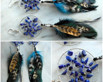 Lapis Lazuli Bohemian Dream Catcher Earrings in Silver with Hand Gathered Feathers by The Emerald Lotus