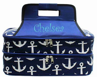 Anchor Casserole Carrier - Navy - Monogrammed Casserole Carrier - Casserole Carrier - Personalized Casserole Carrier - Wedding Gift