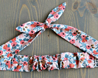 Peach Floral Knotted Hair Tie, Hair Wrap, Flowers, Self Tie Headband, Bandana, Hair Scarf, Baby, Child, Rockabilly, Made in Canada, Bow