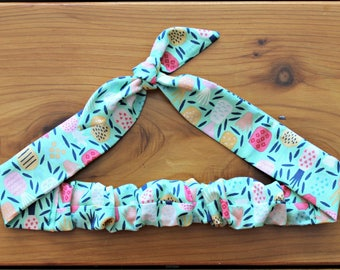 Pineapple Knotted Hair Tie, Rosie Wrap, Headband, Bandana, Hair Scarf, Baby, Toddler, Child, Photo Prop, Rockabilly, Tropical, Pastel, Mint